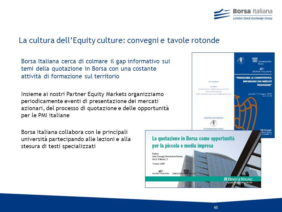 La cultura dell'Equity culture: convegni e tavole rotonde