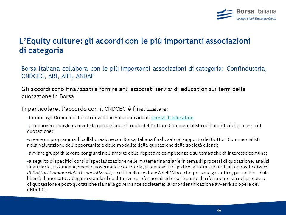 L'Equity culture: gli accordi con le più importanti associazioni di categoria