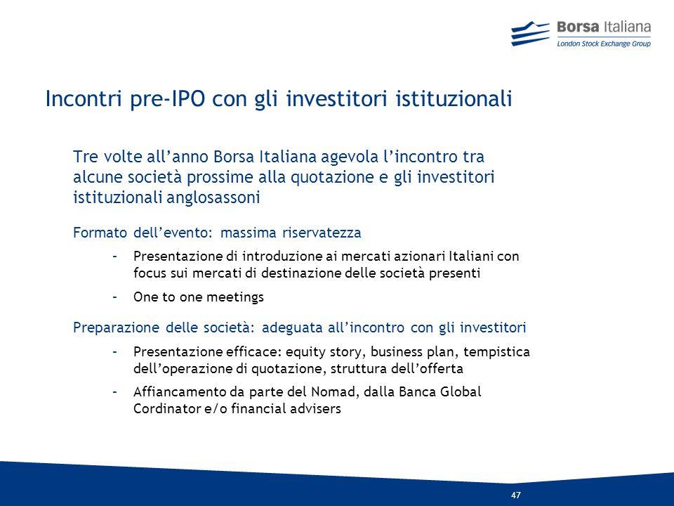 Incontri pre-IPO con gli investitori istituzionali
