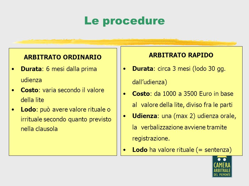Le procedure ARBITRATO RAPIDO ARBITRATO ORDINARIO