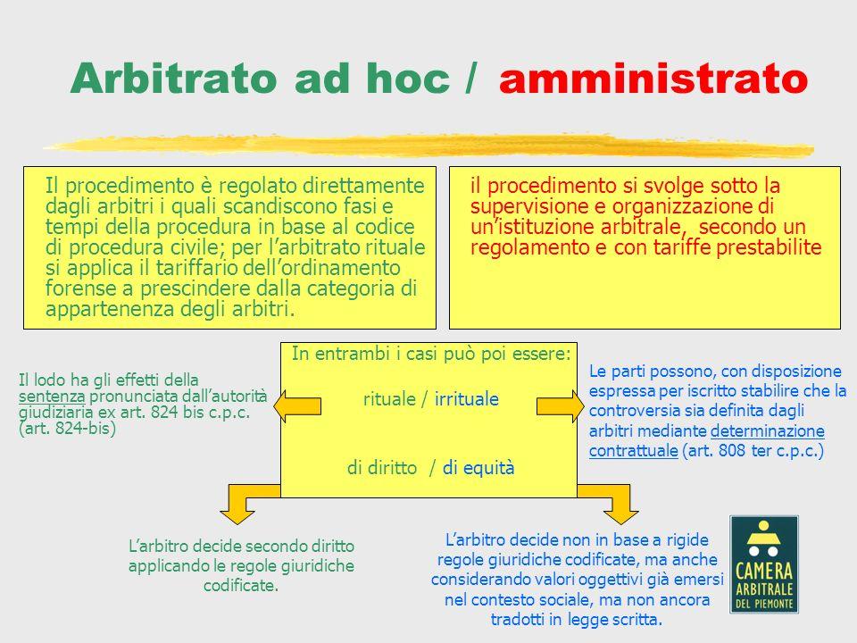Arbitrato ad hoc / amministrato