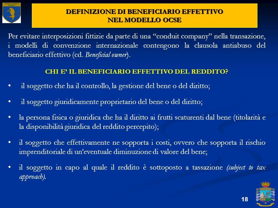 DEFINIZIONE DI BENEFICIARIO EFFETTIVO NEL MODELLO OCSE
