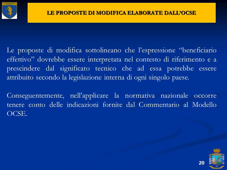 LE PROPOSTE DI MODIFICA ELABORATE DALL'OCSE