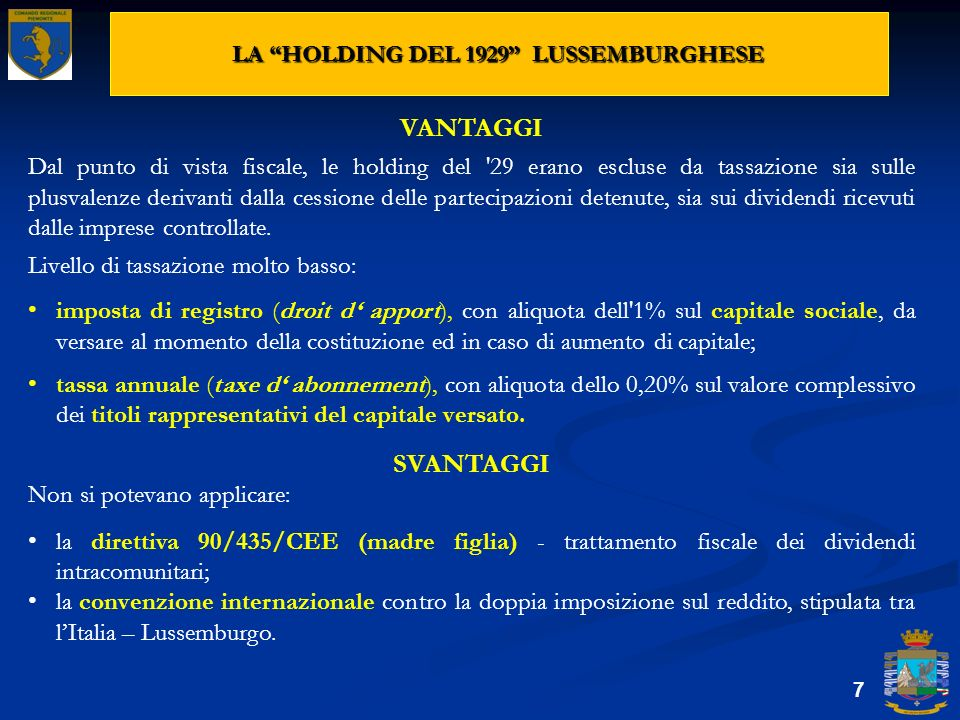 LA HOLDING DEL 1929 LUSSEMBURGHESE