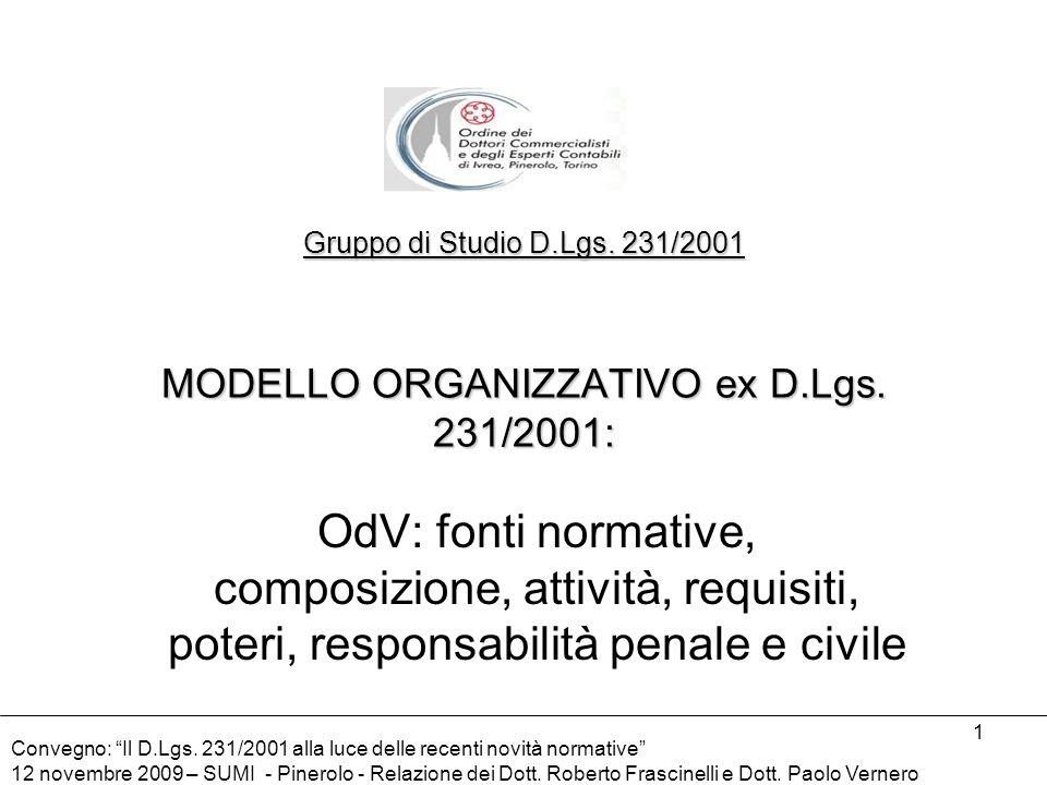 Gruppo di Studio D. Lgs. 231/2001 MODELLO ORGANIZZATIVO ex D. Lgs