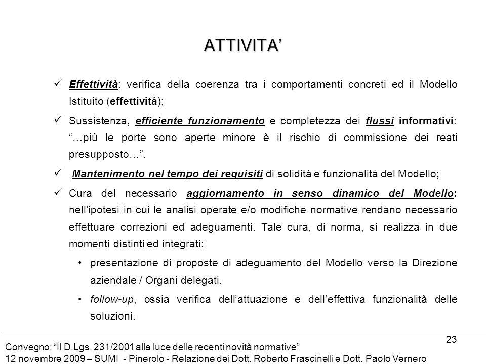 ATTIVITA' Effettività: verifica della coerenza tra i comportamenti concreti ed il Modello Istituito (effettività);