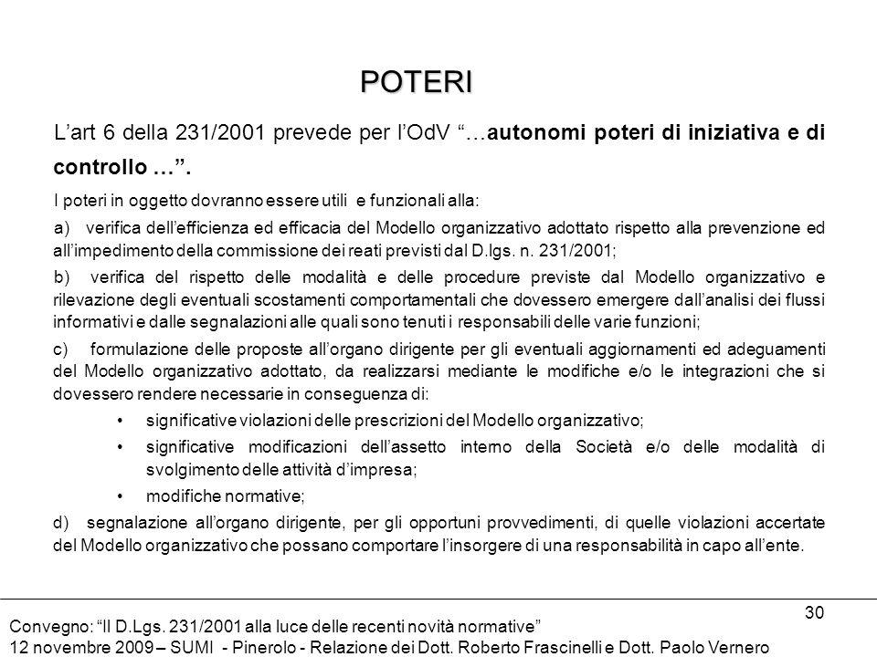 POTERI L'art 6 della 231/2001 prevede per l'OdV …autonomi poteri di iniziativa e di controllo … .