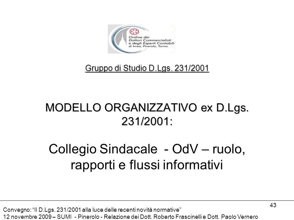 Collegio Sindacale - OdV – ruolo, rapporti e flussi informativi