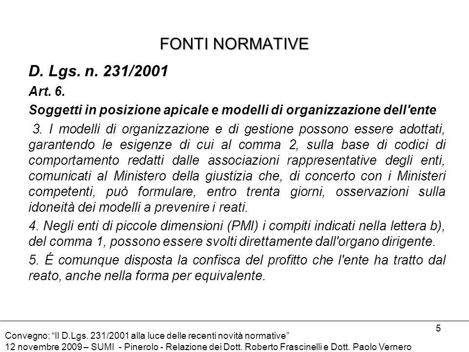 FONTI NORMATIVE D. Lgs. n. 231/2001 Art. 6.