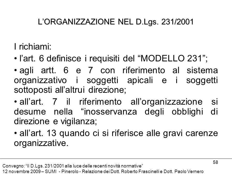 L'ORGANIZZAZIONE NEL D.Lgs. 231/2001
