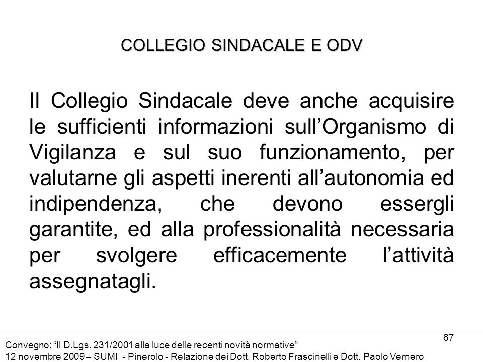COLLEGIO SINDACALE E ODV