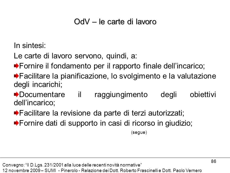OdV – le carte di lavoro In sintesi: