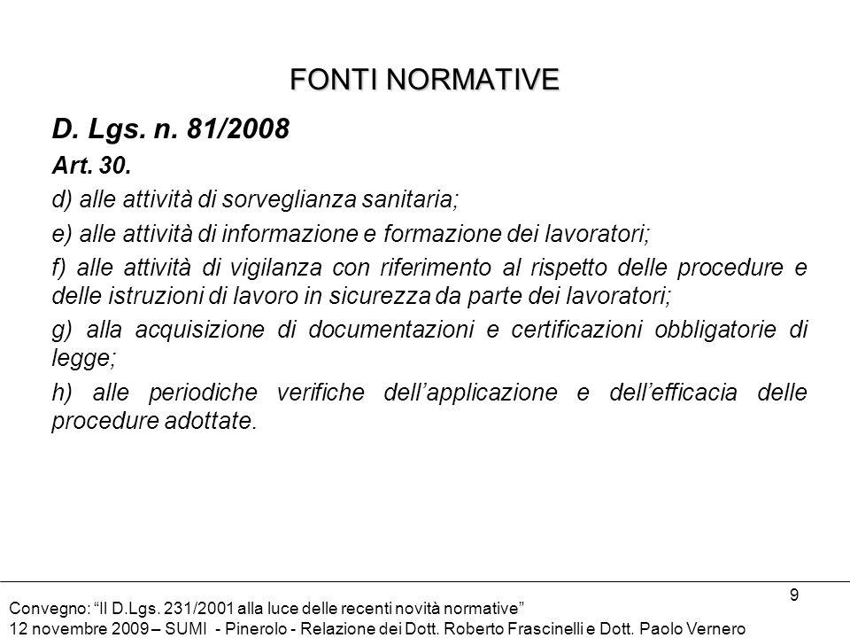 FONTI NORMATIVE D. Lgs. n. 81/2008 Art. 30.