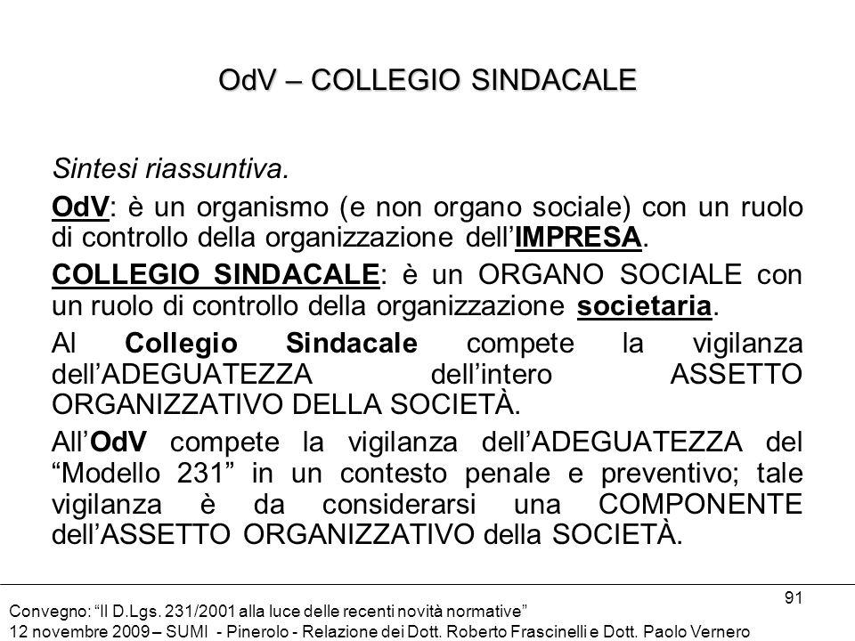OdV – COLLEGIO SINDACALE