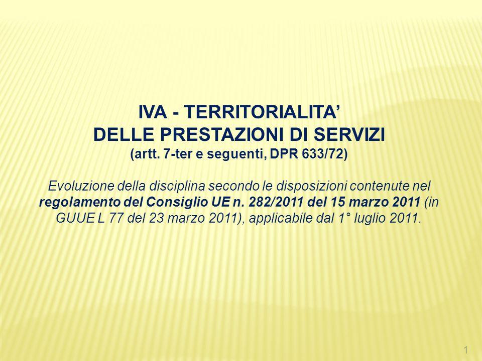 DELLE PRESTAZIONI DI SERVIZI (artt. 7-ter e seguenti, DPR 633/72)