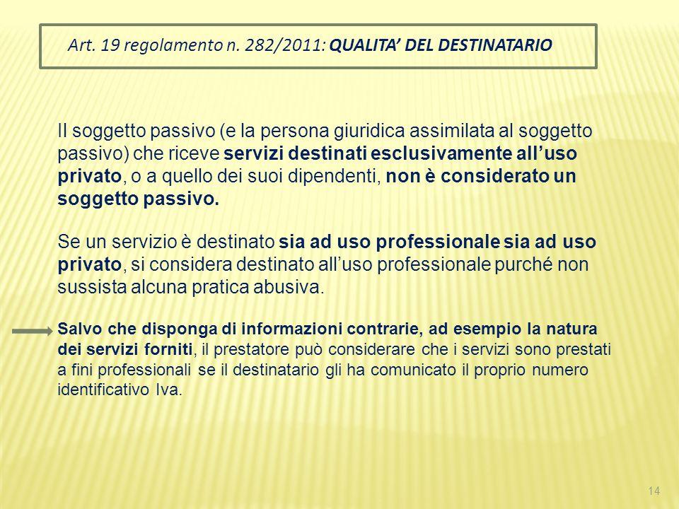 Art. 19 regolamento n. 282/2011: QUALITA' DEL DESTINATARIO