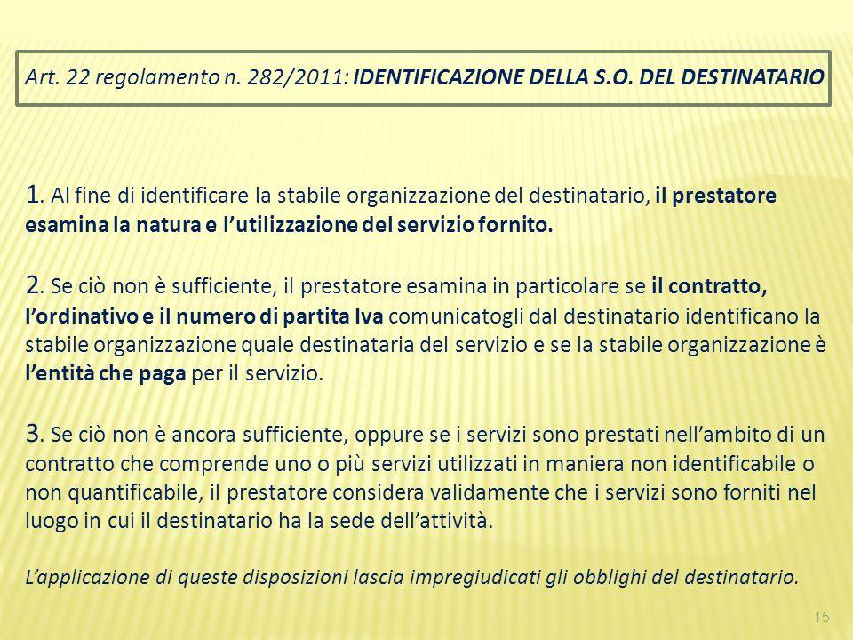 Art. 22 regolamento n. 282/2011: IDENTIFICAZIONE DELLA S. O