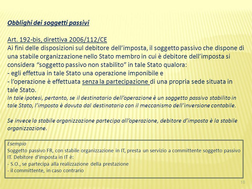 Obblighi dei soggetti passivi Art. 192-bis, direttiva 2006/112/CE
