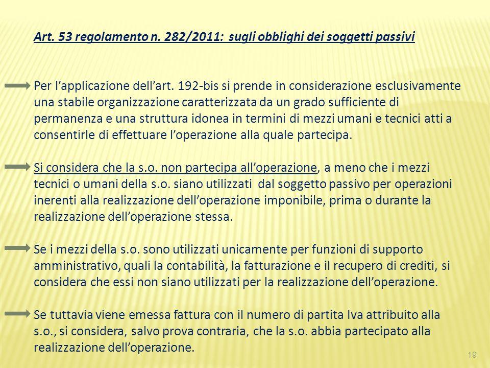 Art. 53 regolamento n. 282/2011: sugli obblighi dei soggetti passivi