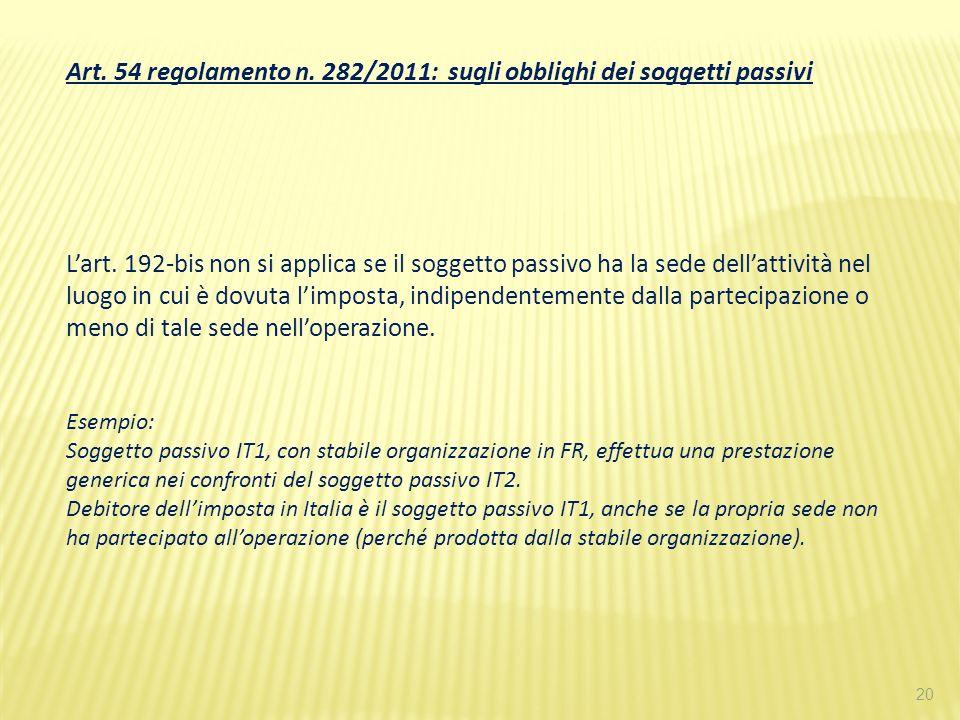 Art. 54 regolamento n. 282/2011: sugli obblighi dei soggetti passivi