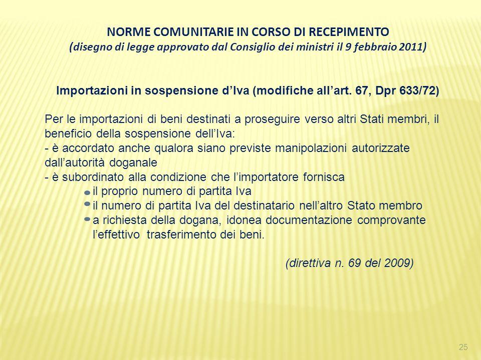 NORME COMUNITARIE IN CORSO DI RECEPIMENTO