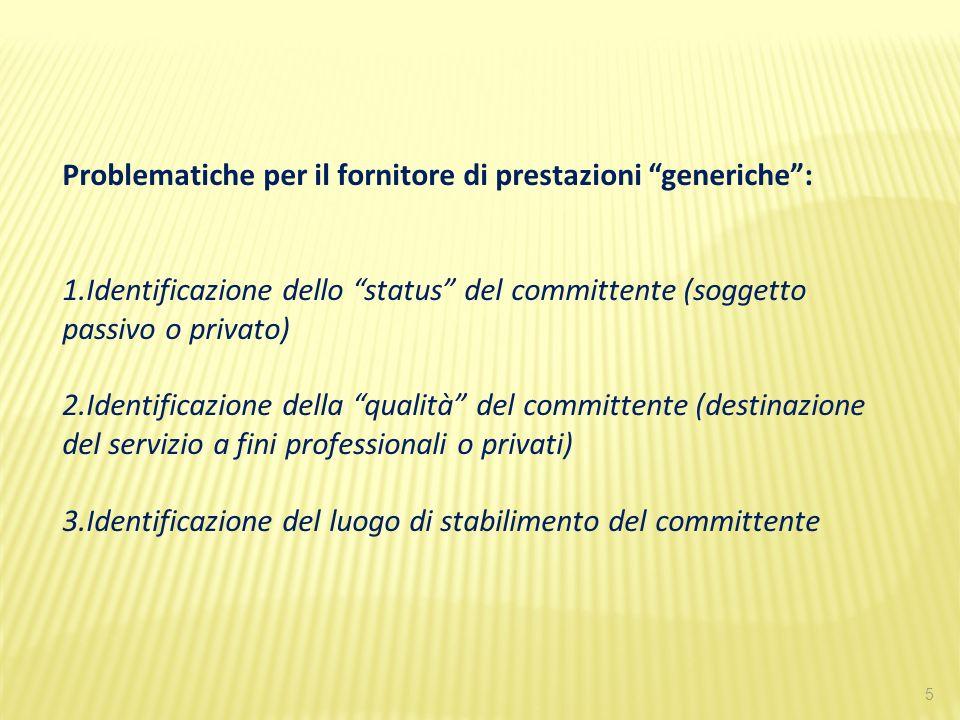Problematiche per il fornitore di prestazioni generiche :