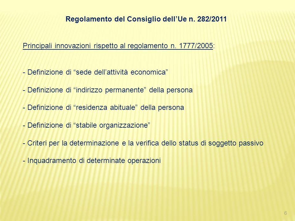 Regolamento del Consiglio dell'Ue n. 282/2011