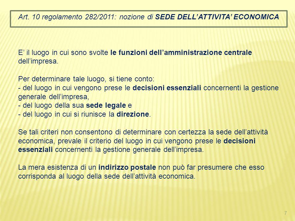Art. 10 regolamento 282/2011: nozione di SEDE DELL'ATTIVITA' ECONOMICA
