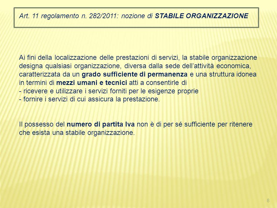 Art. 11 regolamento n. 282/2011: nozione di STABILE ORGANIZZAZIONE