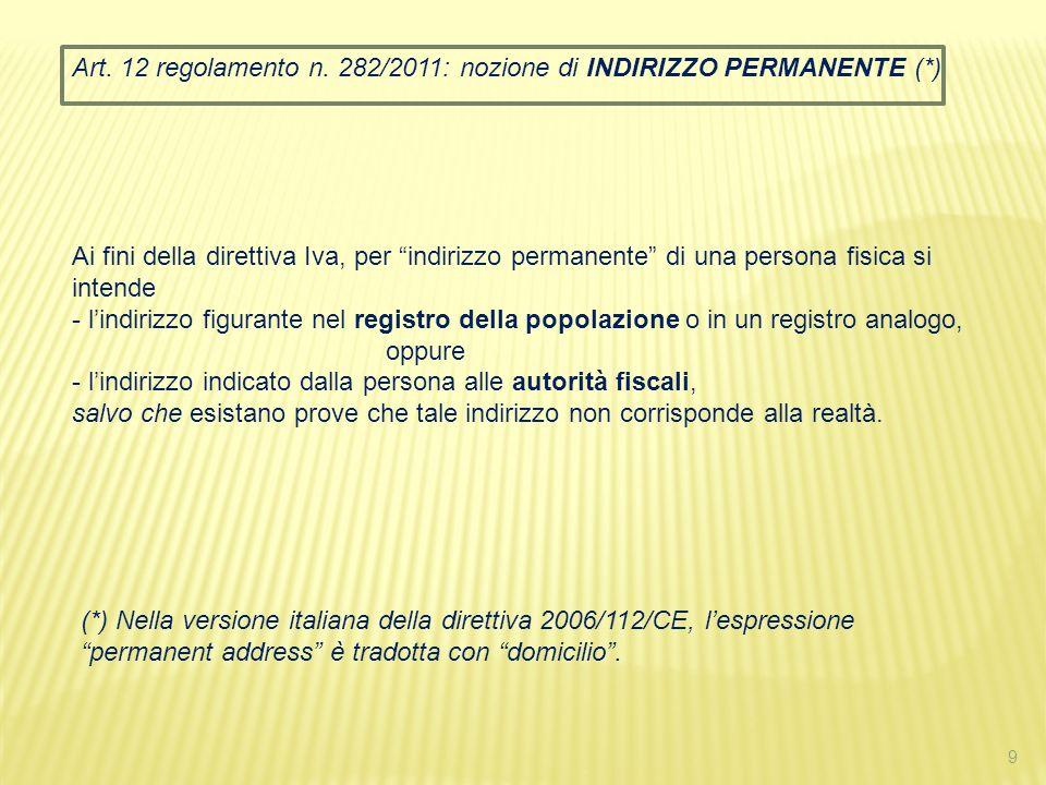 Art. 12 regolamento n. 282/2011: nozione di INDIRIZZO PERMANENTE (*)