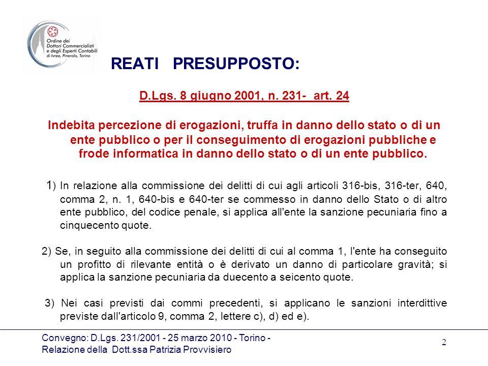 REATI PRESUPPOSTO: D.Lgs. 8 giugno 2001, n. 231- art. 24
