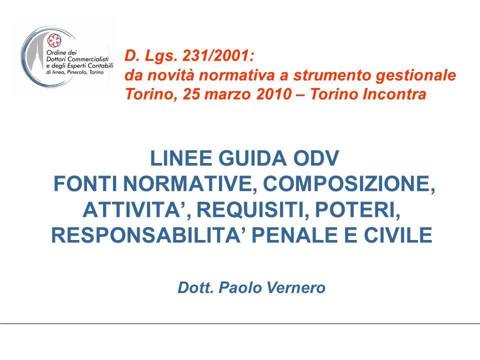 D. Lgs. 231/2001: da novità normativa a strumento gestionale Torino, 25 marzo 2010 – Torino Incontra