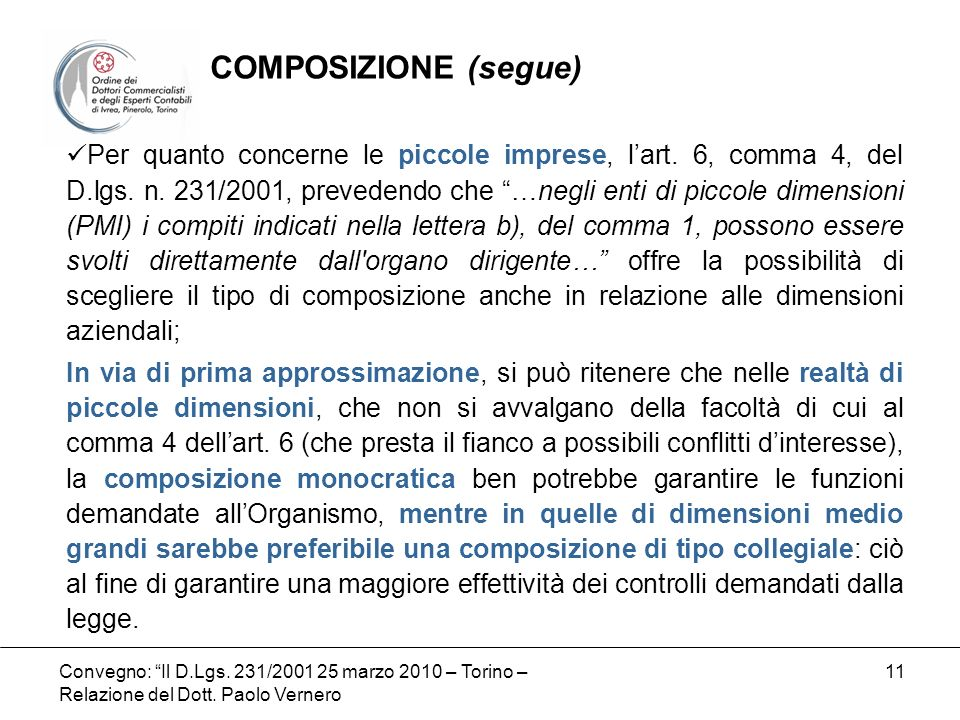 COMPOSIZIONE (segue)