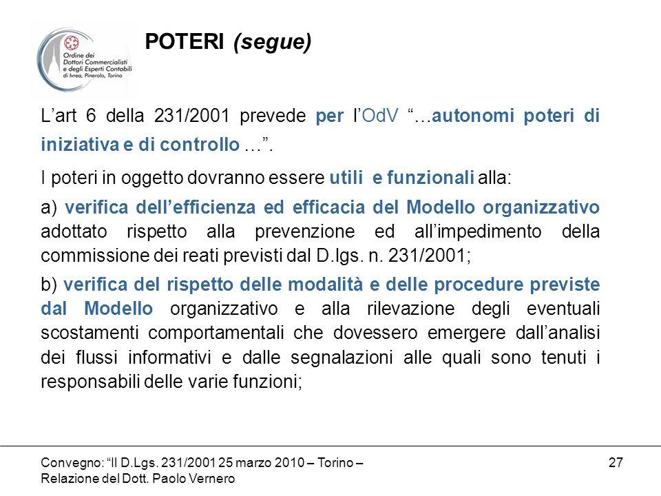 POTERI (segue)L'art 6 della 231/2001 prevede per l'OdV …autonomi poteri di iniziativa e di controllo … .