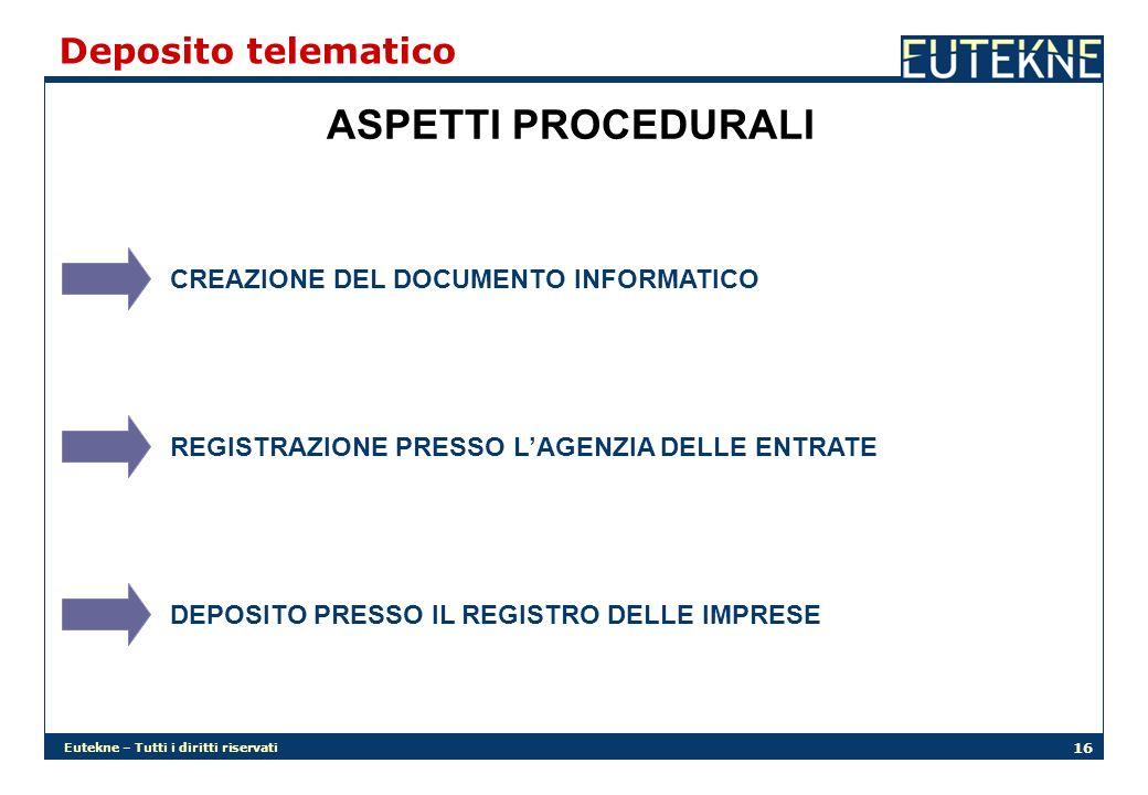 ASPETTI PROCEDURALI Deposito telematico