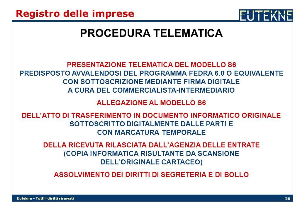 PROCEDURA TELEMATICA Registro delle imprese