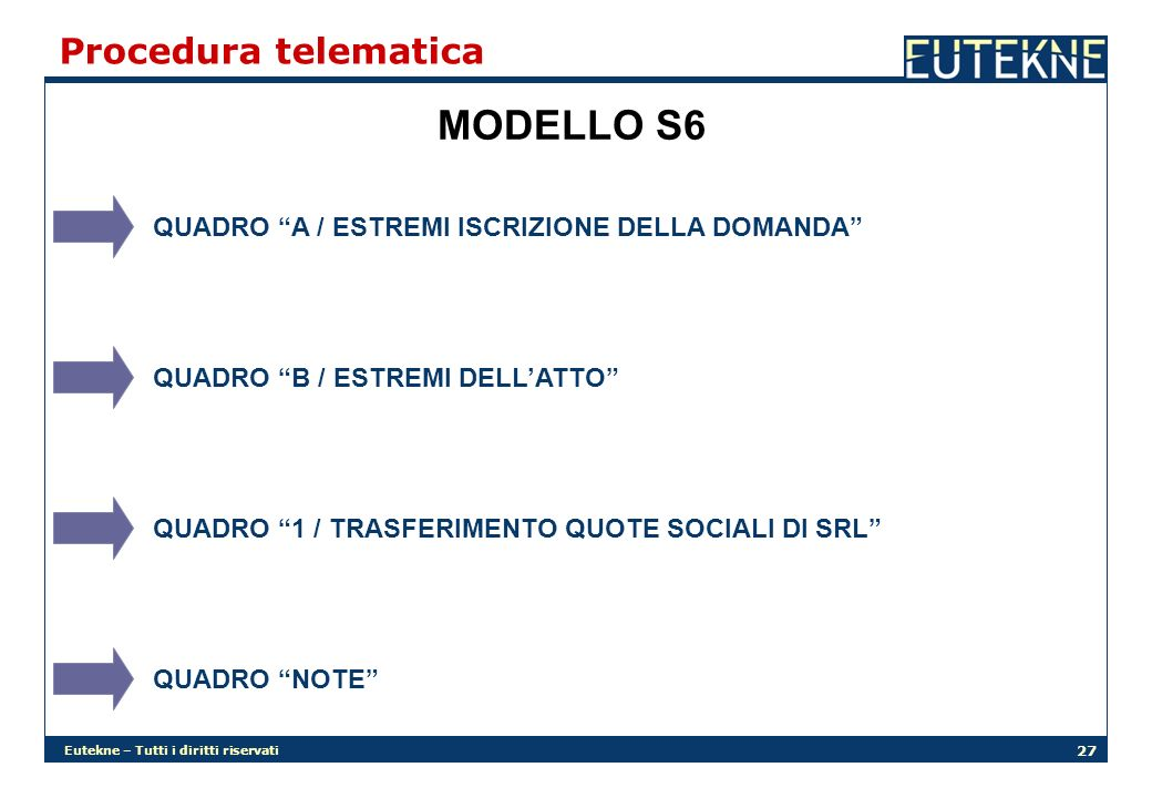 MODELLO S6 Procedura telematica