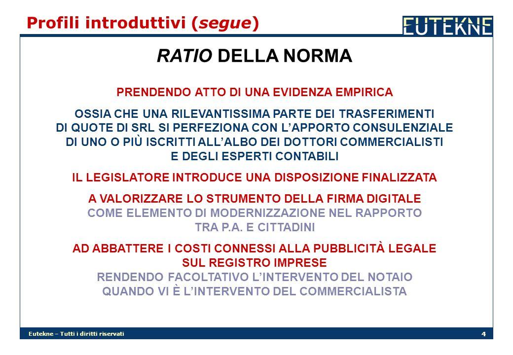 RATIO DELLA NORMA Profili introduttivi (segue)