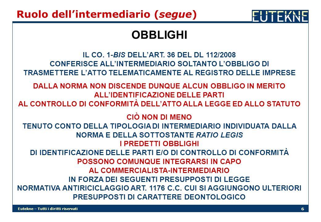 OBBLIGHI Ruolo dell'intermediario (segue)