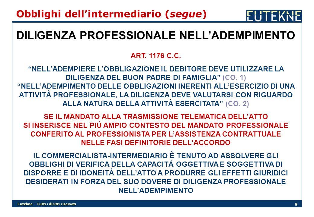 DILIGENZA PROFESSIONALE NELL'ADEMPIMENTO