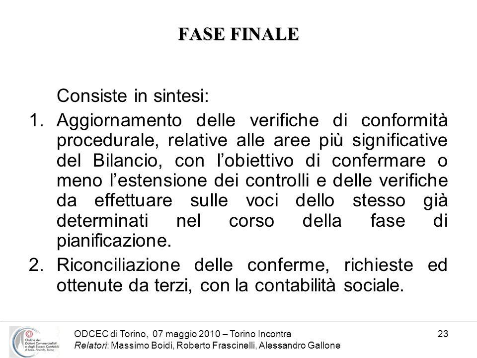 FASE FINALE Consiste in sintesi: