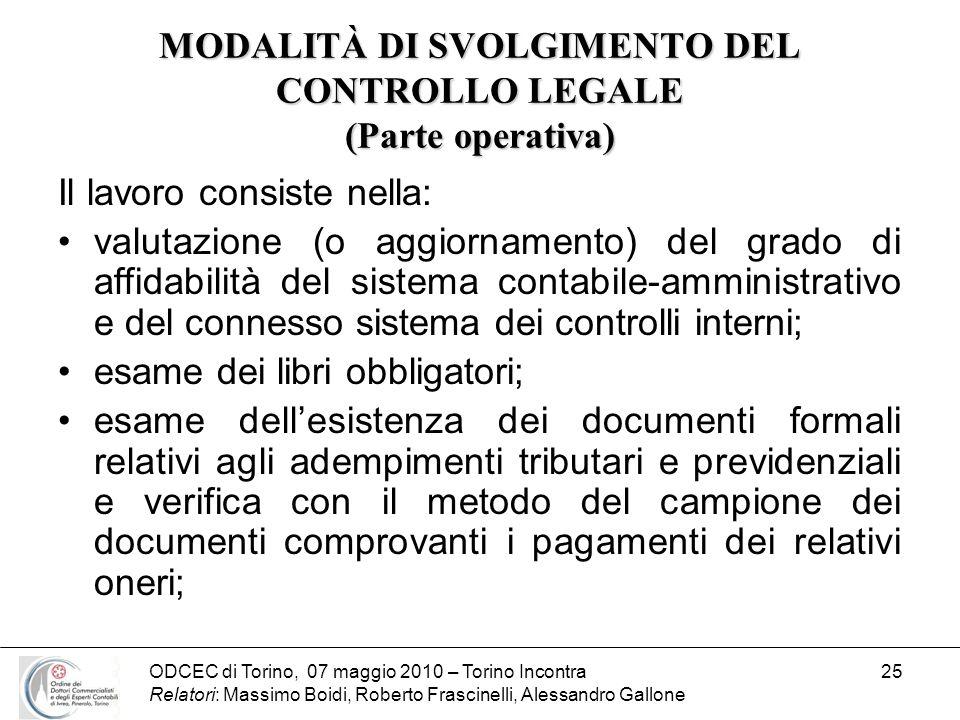 MODALITÀ DI SVOLGIMENTO DEL CONTROLLO LEGALE (Parte operativa)