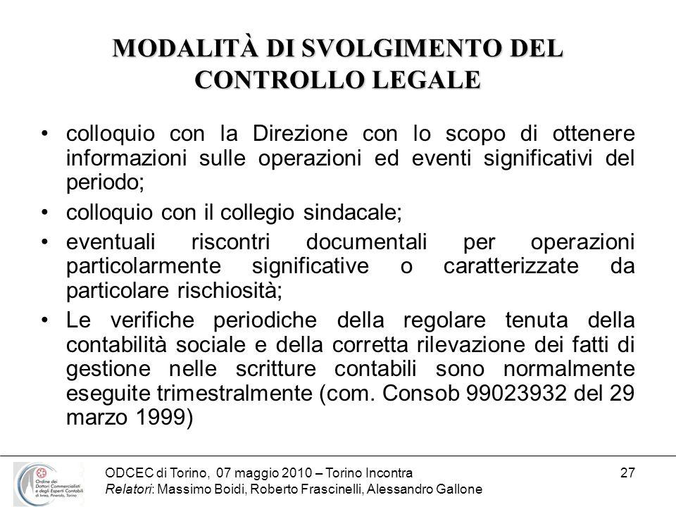 MODALITÀ DI SVOLGIMENTO DEL CONTROLLO LEGALE