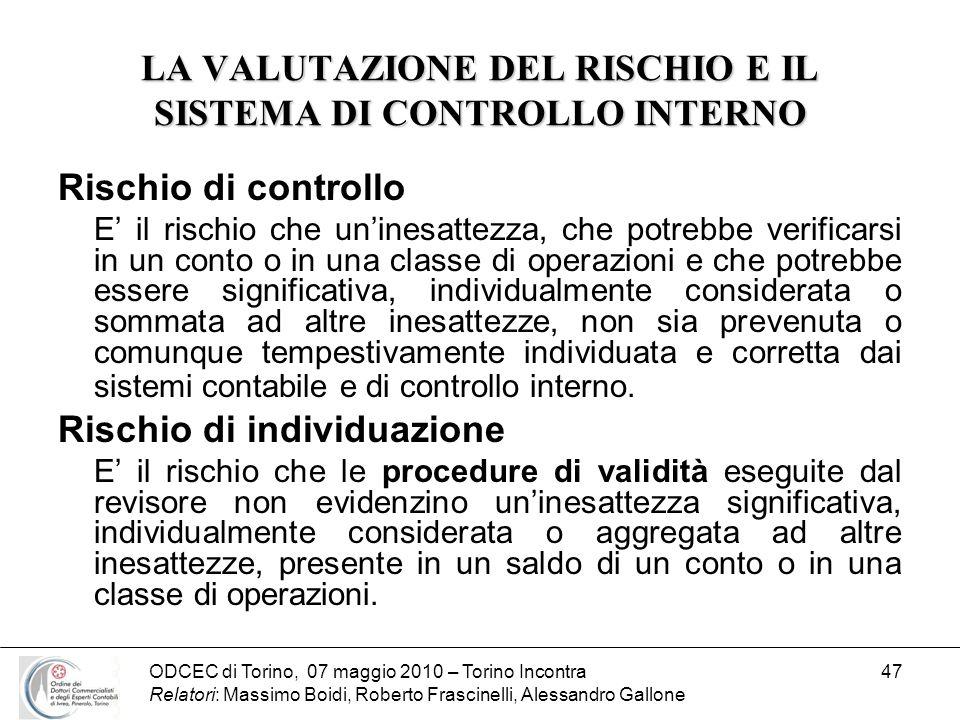 LA VALUTAZIONE DEL RISCHIO E IL SISTEMA DI CONTROLLO INTERNO