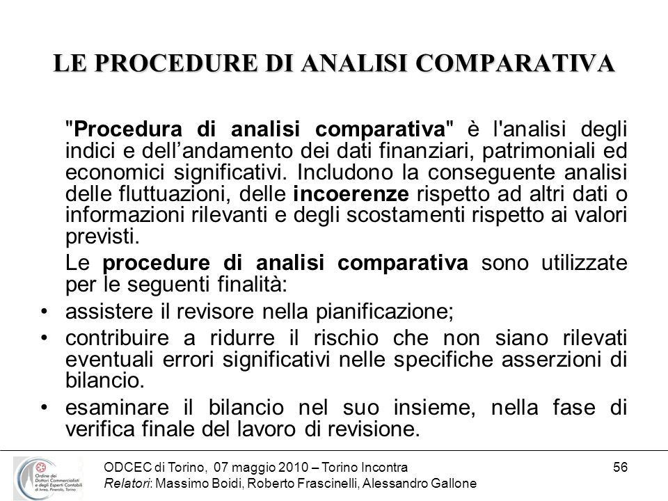 LE PROCEDURE DI ANALISI COMPARATIVA