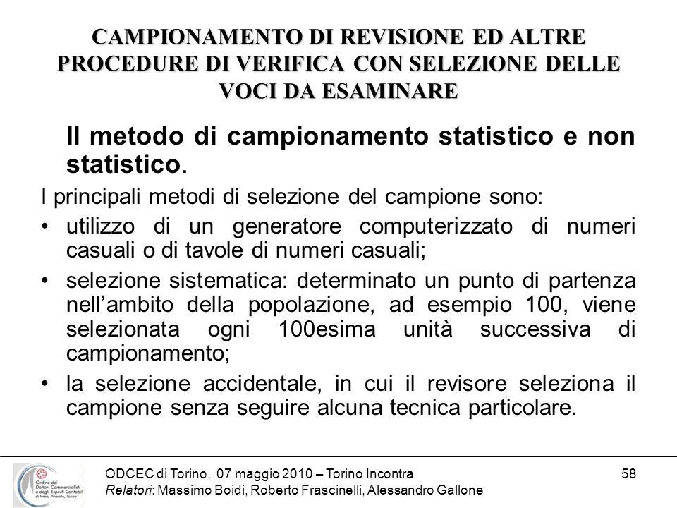 Il metodo di campionamento statistico e non statistico.