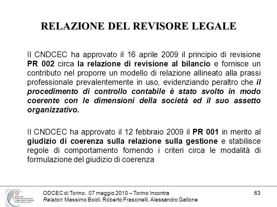 RELAZIONE DEL REVISORE LEGALE