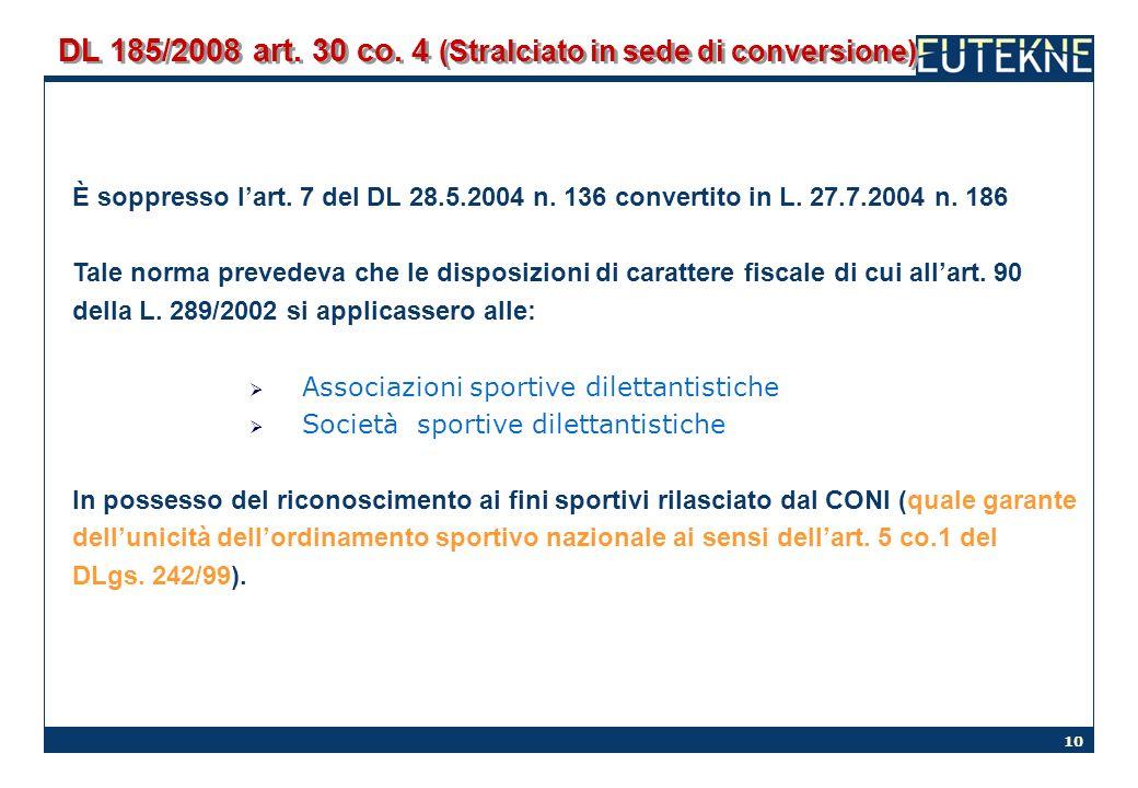 DL 185/2008 art. 30 co. 4 (Stralciato in sede di conversione)