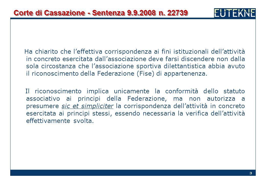 Corte di Cassazione - Sentenza 9.9.2008 n. 22739