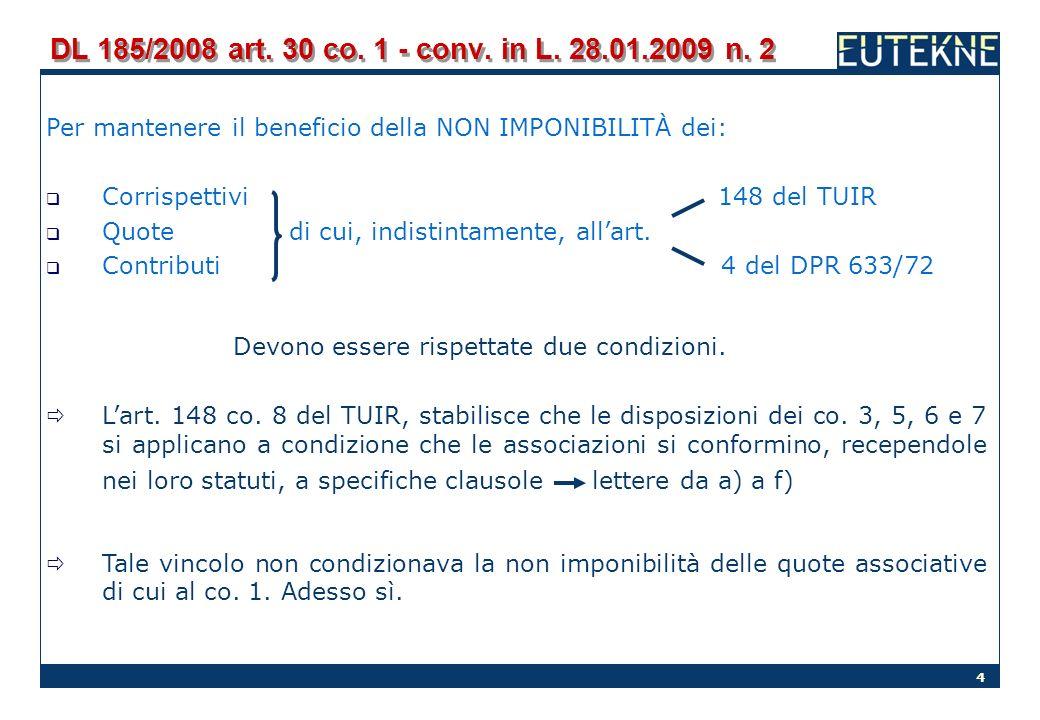 DL 185/2008 art. 30 co. 1 - conv. in L. 28.01.2009 n. 2 Per mantenere il beneficio della NON IMPONIBILITÀ dei: